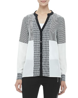 Diane von Furstenberg Shelby Long-Sleeve Print-Panel Silk Blouse