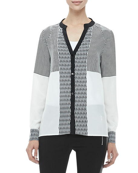 Shelby Long-Sleeve Print-Panel Silk Blouse