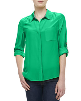 Diane von Furstenberg Lorelei Two Chiffon Top, Hot Green