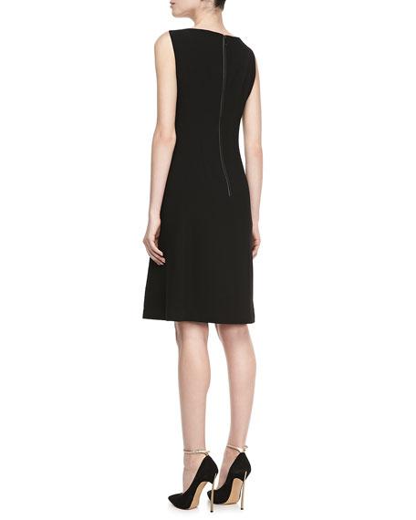 Carmine Leather-Bodice Dress