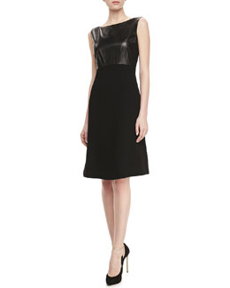 Lafayette 148 New York Carmine Leather-Bodice Dress