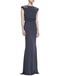 Badgley Mischka Deco Beaded Cap-Sleeve Gown