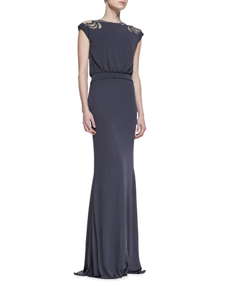 Deco Beaded Cap-Sleeve Gown