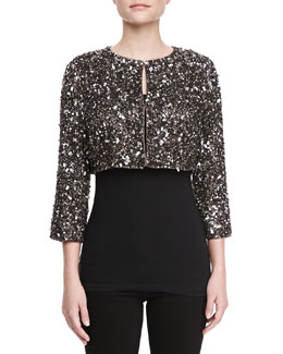 Lafayette 148 New York Dominique Hand-Beaded Cropped Sweater