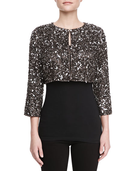 Dominique Hand-Beaded Cropped Sweater