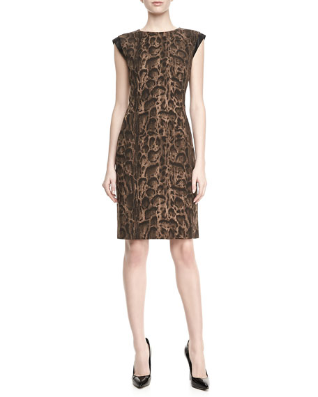 Leopard-Print Cap-Sleeve Cosette Dress