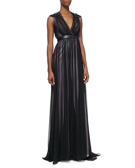 Leather-Banded Tulle Gown