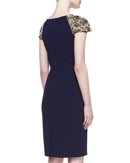 Beaded Sleeve Cocktail Dress, Navy