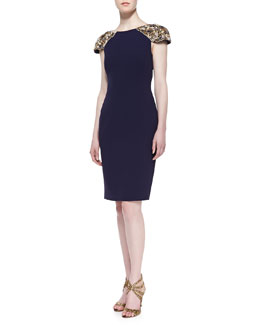 Badgley Mischka Beaded Sleeve Cocktail Dress, Navy