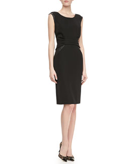 Lafayette 148 New York Lunaire Leather-Side Sheath Dress