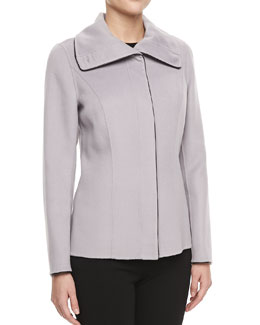 Lafayette 148 New York Libby Wool-Blend Leather-Trim Jacket