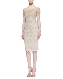 Badgley Mischka Short-Sleeve Tulle-Bodice Lace Cocktail Dress, Gold