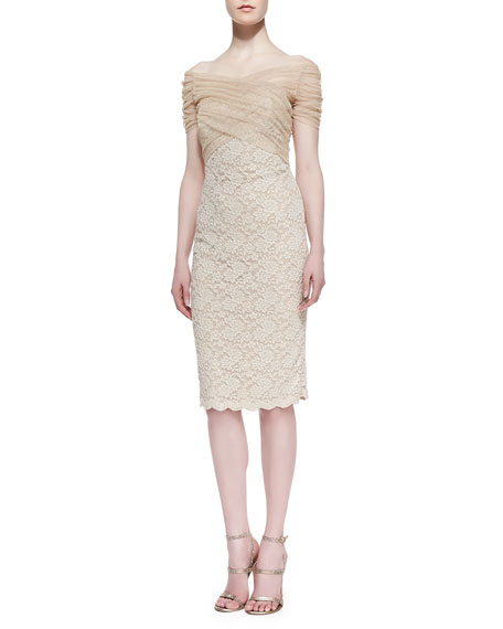 Short-Sleeve Tulle-Bodice Lace Cocktail Dress, Gold