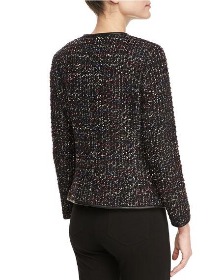 Tweed Faux Leather-Trim Jacket