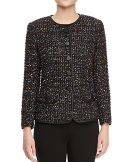 Lafayette 148 New York Tweed Faux Leather-Trim Jacket