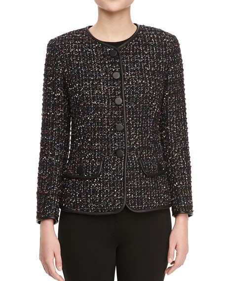 Tweed Faux Leather-Trim Jacket