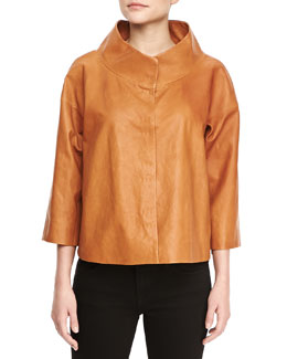 Lafayette 148 New York Gisella 3/4-Sleeve Leather Topper