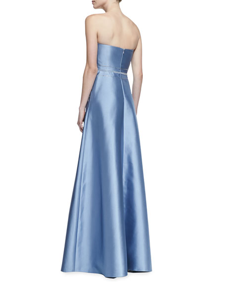 Strapless Deco-Bodice Ball Gown, Light Blue