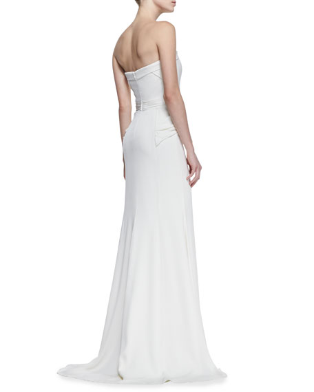Beaded Top Strapless Gown, Ivory