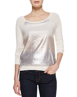 Three Dots Sequin Raglan-Sleeve Sweatshirt