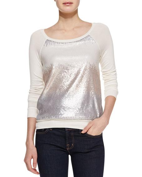 Sequin Raglan-Sleeve Sweatshirt