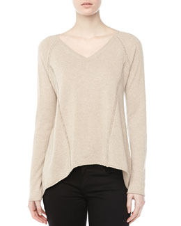 Lafayette 148 New York Cashmere High-Low Stitched Top