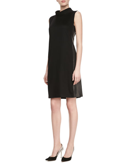 Iona Cashmere Faux-Leather-Panel Dress