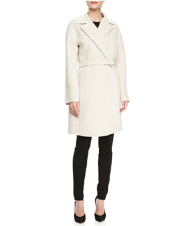 Lafayette 148 New York Wilma Textured Long-Sleeve Coat