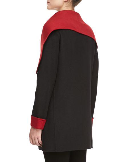 Relaxed Shawl Collar Coat, Black/Siren