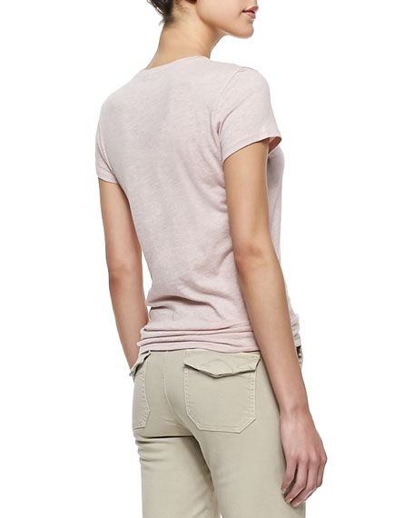 Short-Sleeve Knit Tee, Heather Blush
