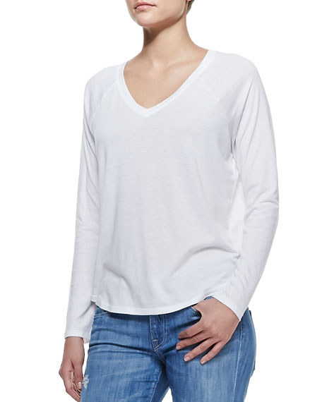 Long-Sleeve V-Neck Tee, White