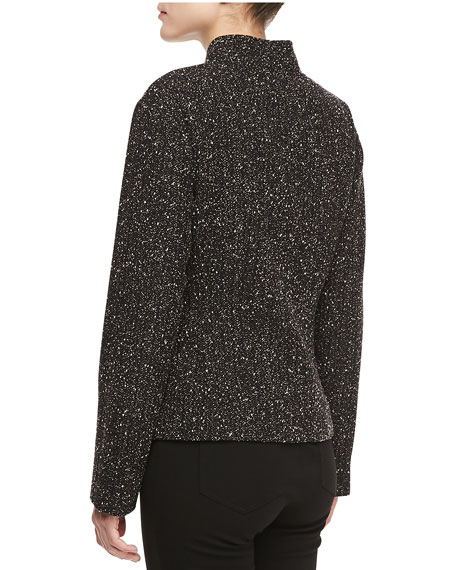 Patricia Leather-Pocket Tweed Jacket