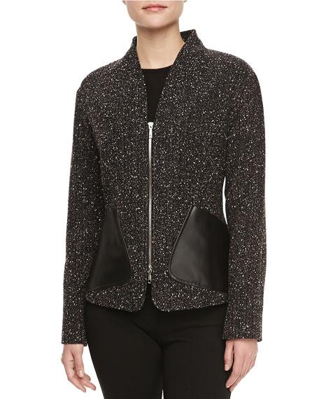 Patricia Leather-Pocket Tweed Jacket