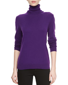Lafayette 148 New York Cashmere Long-Sleeve Turtleneck, Deep Purple