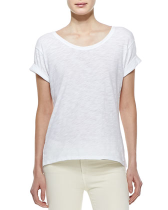 Rolled-Sleeve Cotton Tee, White