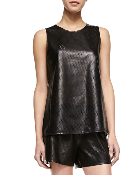 Perforated Leather Sleeveless Top