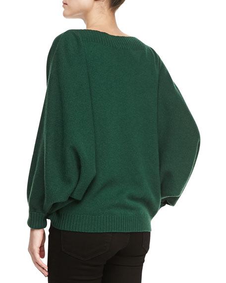 Dolman-Sleeve Cashmere Sweater, Emerald