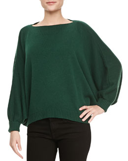 Lafayette 148 New York Dolman-Sleeve Cashmere Sweater, Emerald
