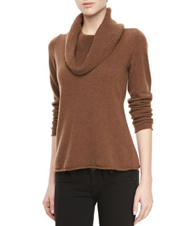 Lafayette 148 New York Knit Cowl-Neck Sweater, Coconut Melange