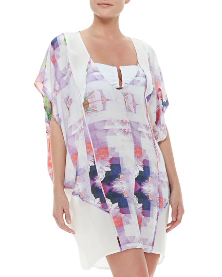 Pixelated Floral-Print Caftan Coverup