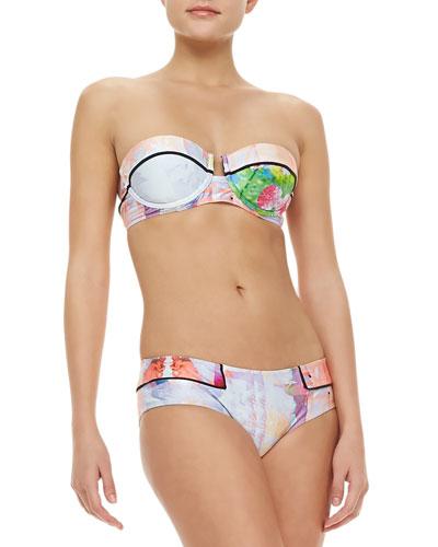 Suboo Floral Rise Bandeau Bikini, Multicolor