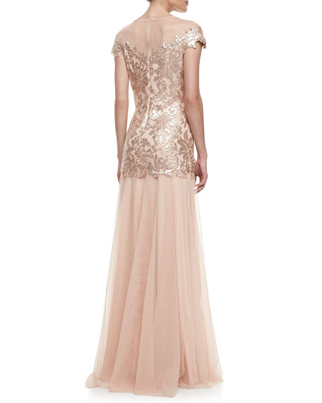 Illusion-Neck Lace Chiffon Gown