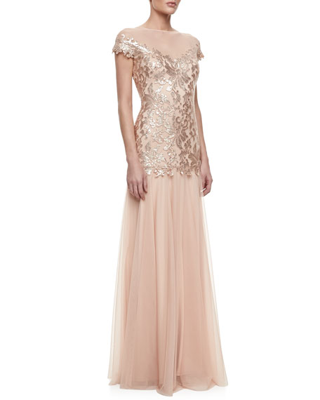 Illusion-Neck Lace Chiffon Gown