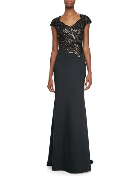 Short-Sleeve Deco-Sequined Bodice Gown