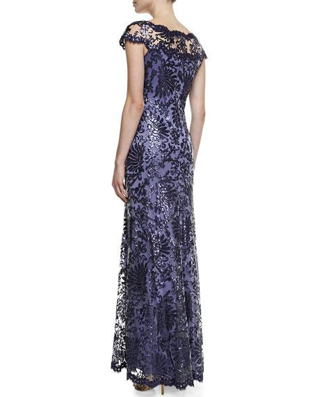 Illusion-Neck Lace Gown, Purple