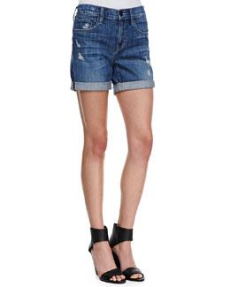 Vince Mason Rolled Wrecked Denim Shorts