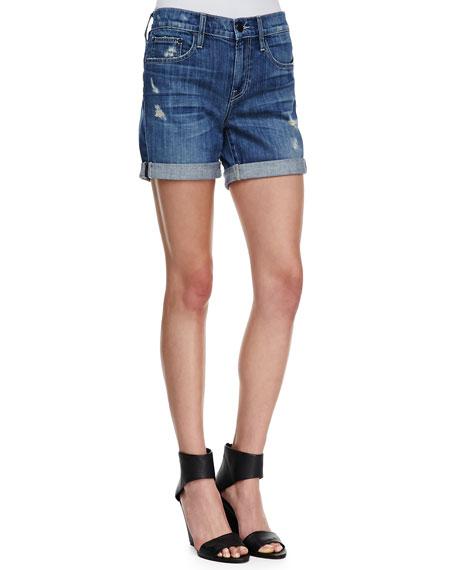 Mason Rolled Wrecked Denim Shorts