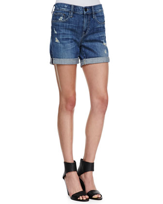 Mason Rolled Wrecked Denim Shorts
