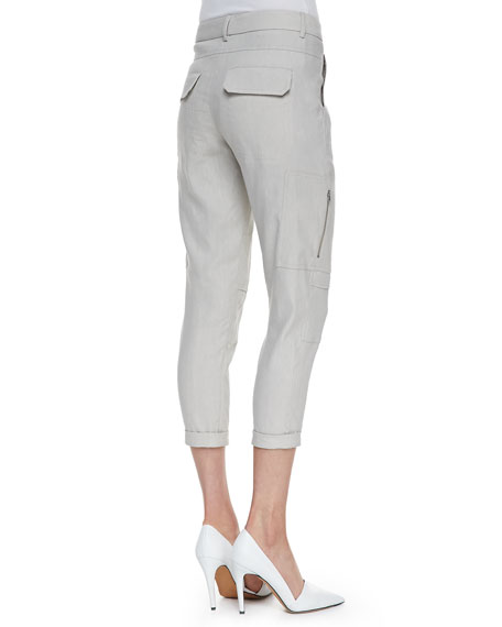 Cropped Linen-Blend Cargo Pants, Grain