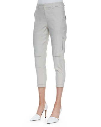 Cropped Linen-Blend Cargo Pants, Grain